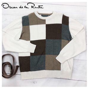 Oscar De La Renta Sweater Pullover Checkered Men's